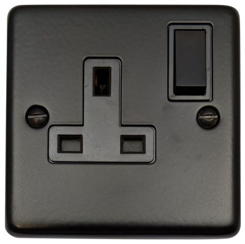 G&H CFB9B Standard Plate Matt Black 1 Gang Single 13A Switched Plug Socket